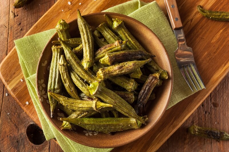 34 High Protein Vegetables You Probably Already Eat; Green Organic Roasted Okra