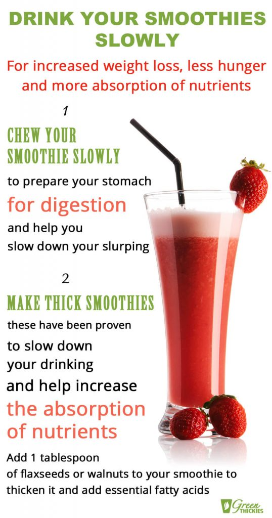 17 Meal Replacement Smoothies For Weight Loss Without Hunger; drink your smoothies slowly infographic