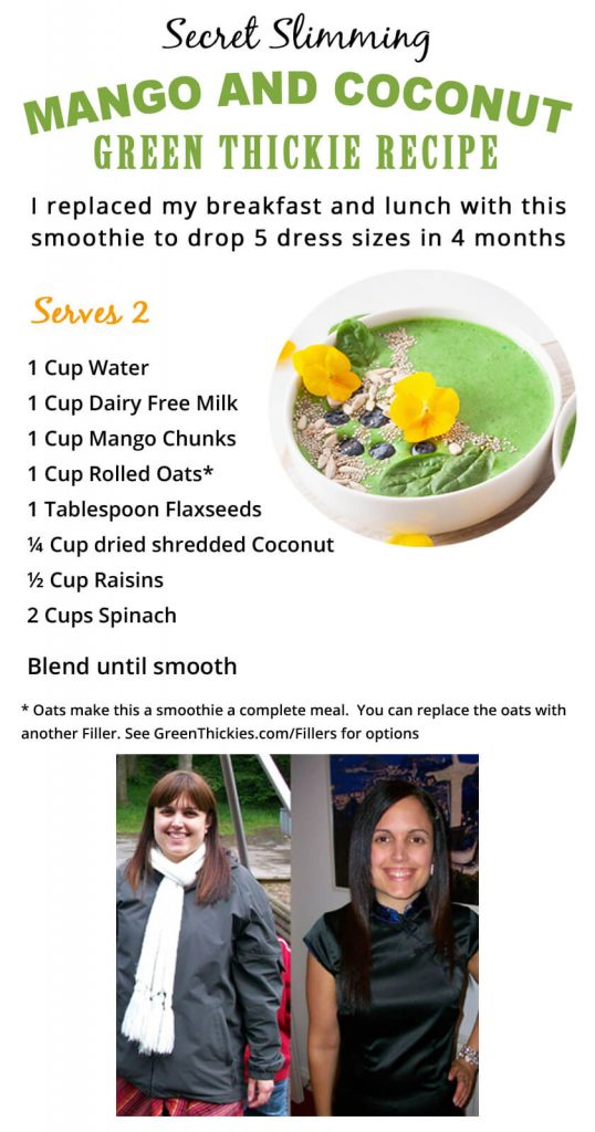 How Much Green Smoothie Should I Drink A Day To Lose Weight?; Secret Slimming Mango and Coconut Green Thickie Recipe