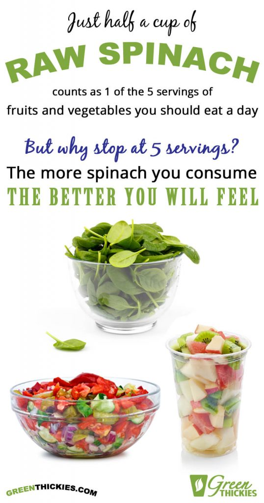 Half a cup of spinach is 1 serving of veges & fruits