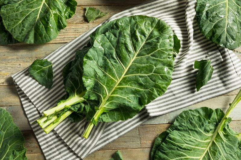 34 High Protein Vegetables You Probably Already Eat; Raw Green Organic Collard Greens