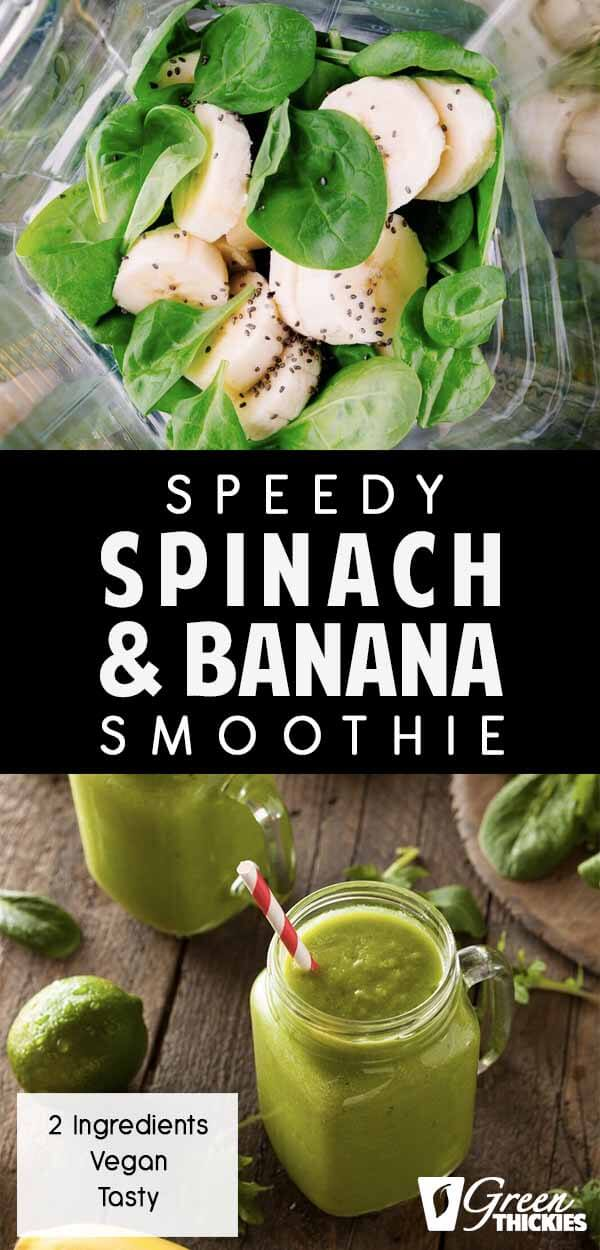 This spinach banana smoothie is so fast to make because it only contains 2 ingredients AND it is super tasty because you can't taste the spinach at all - I promise!What's more - this green smoothie is made using no liquid!Click the link to read the full blog post and get the printable recipe:#greenthickies #greensmoothies #greensmoothierecipe #smoothierecipe #smoothies #spinachsmoothie #bananasmoothie #spinach #banana
