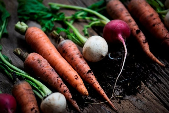 34 High Protein Vegetables You Probably Already Eat; carrots and beets on wooden table