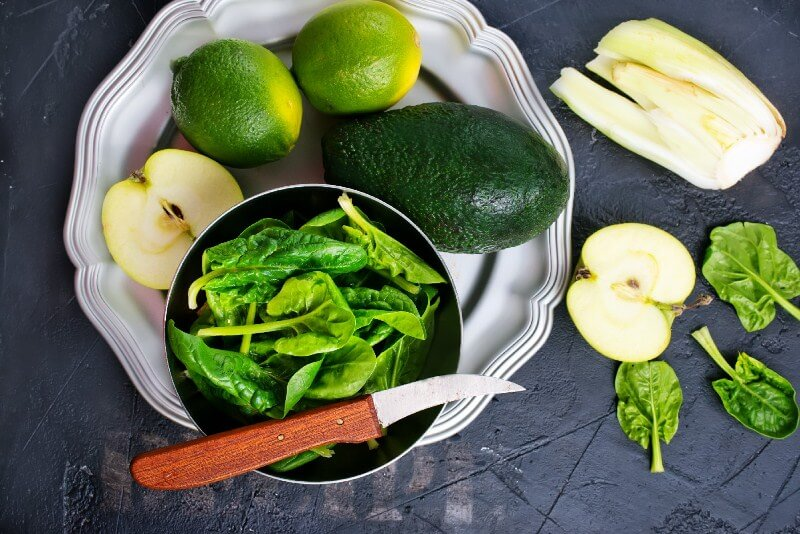 17 Surprising Spinach Nutrition Facts & Health Benefits; green food, spinach apple celery avocado lime