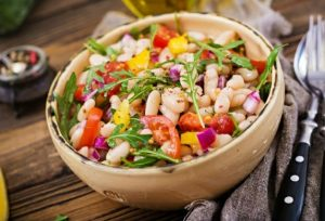 34 High Protein Vegetables You Probably Already Eat; White bean cannellini salad. Vegan salad. Diet menu