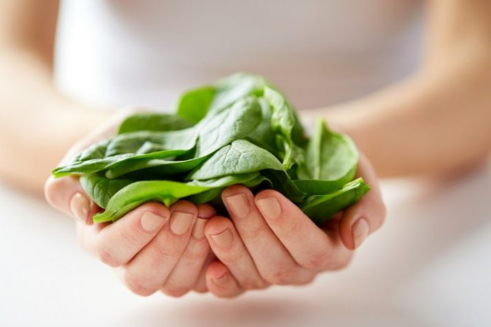 17 Surprising Spinach Nutrition Facts & Health Benefits; woman hands holding spinach leaves