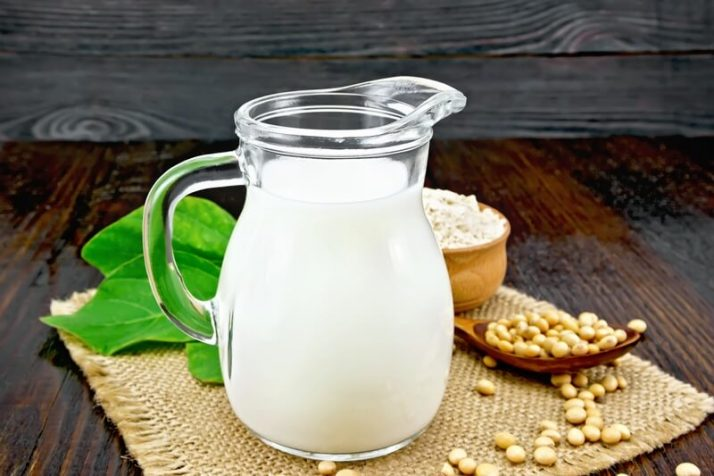 Milk soy in jug with flour