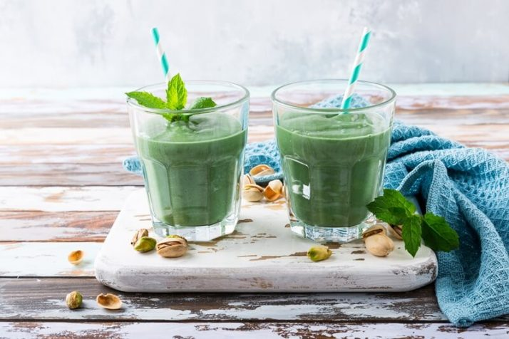 How To Make A Smoothie Without Fruit Taste Delicious: 5 Ways; Two glasses of healthy green smoothie