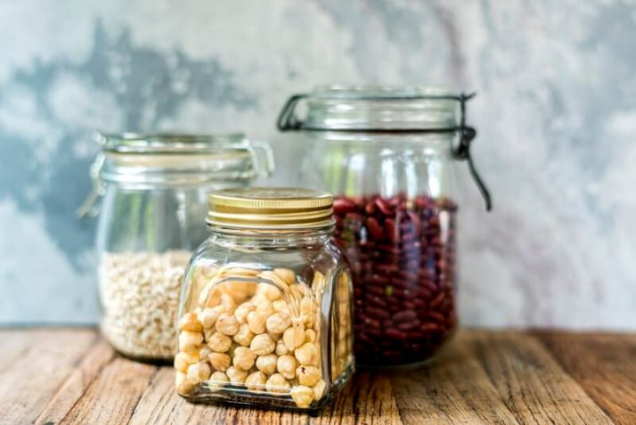 20 Ingenious Ways To Make Green Smoothies More Filling; Variety beans in the glass jar