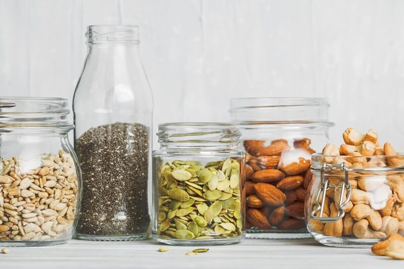 16 Best Smoothie Storage Solutions: My Smoothie Station Ideas; Various nuts and seeds, chia, almonds and peanuts
