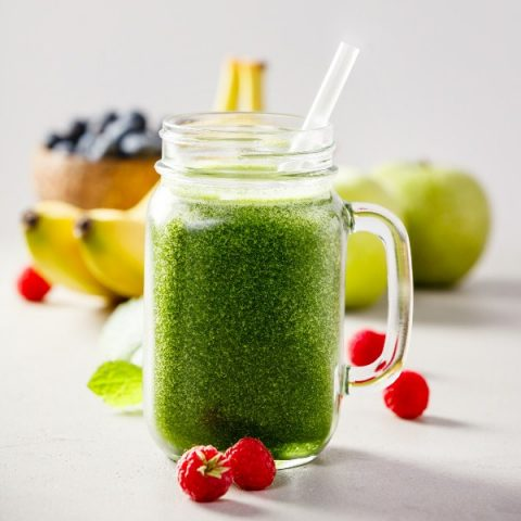 green fresh smoothie berries