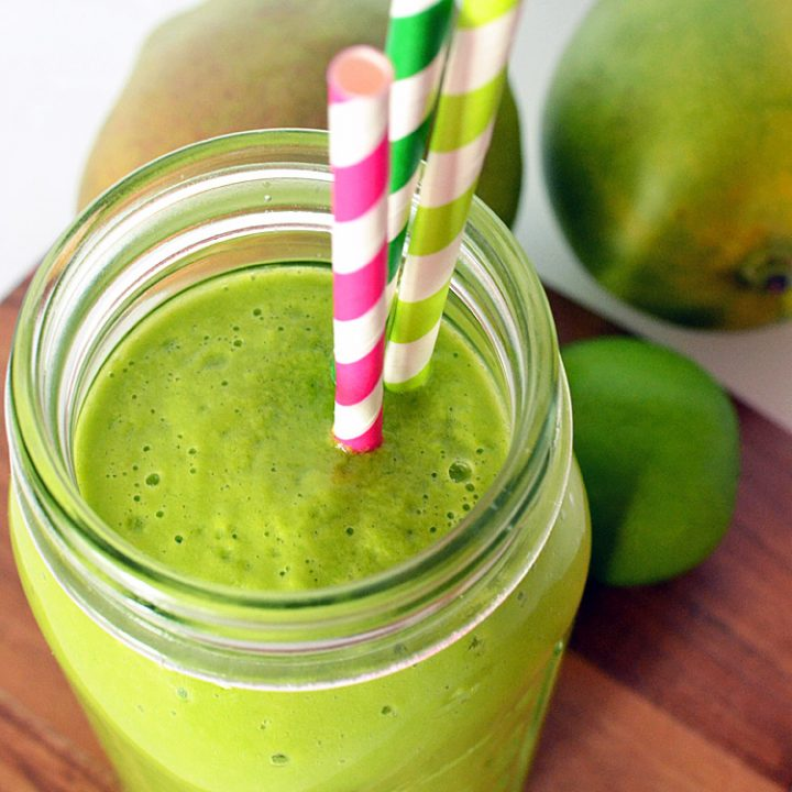 Stress Relieving Mango and Lime Green Smoothie