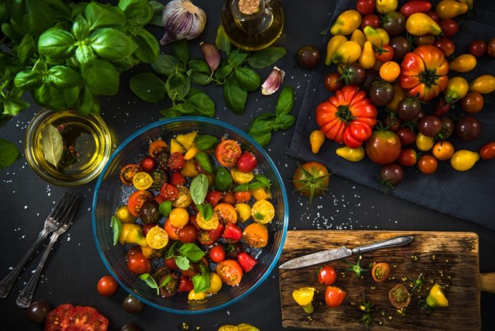 Healthy salad from colorful chopped raw tomatoes