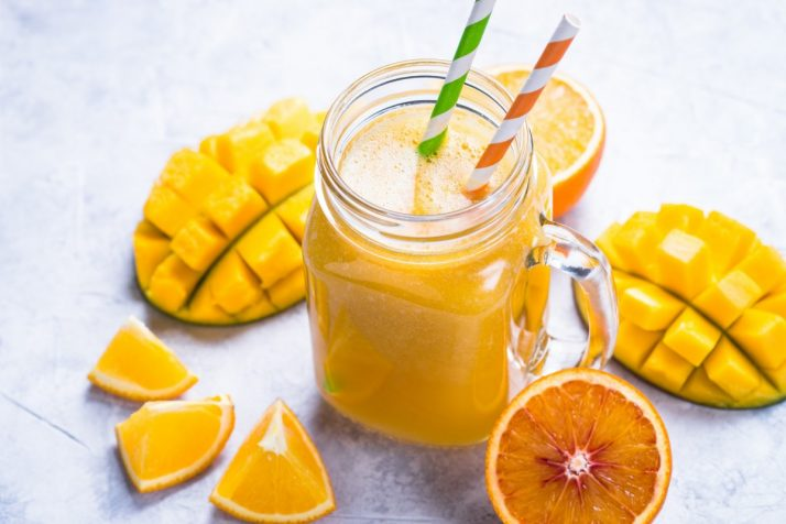Guide To Mangos: Facts, Benefits, Tutorials, Recipes & Videos; Mango orange juice smoothie