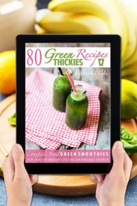 30 Best Gifts For Smoothie Lovers They Will Actually Use; 80 Green Thickies Recipe Book with background