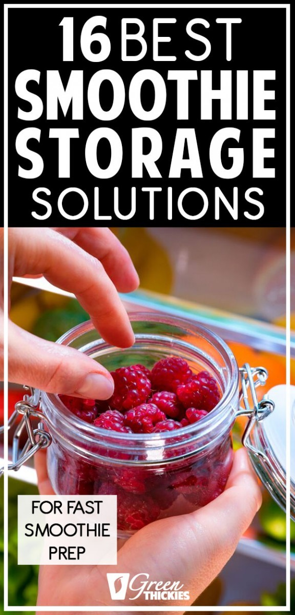 These smoothie storage solutions are perfect!All the best, easy smoothie storage organization ideas & tips for making smoothies, making smoothie stations in your kitchen, organizing your cupboards, shelves and putting fruit tools and measuring cups in a handy drawer. Including for your fridge, freezer, frozen ingredients, dried ingredients, fresh fruit, for the week, for your healthy diet, weight loss, breakfast, morning, packs, bags, jars, cups, bottles, baskets, containers. #greenthic...