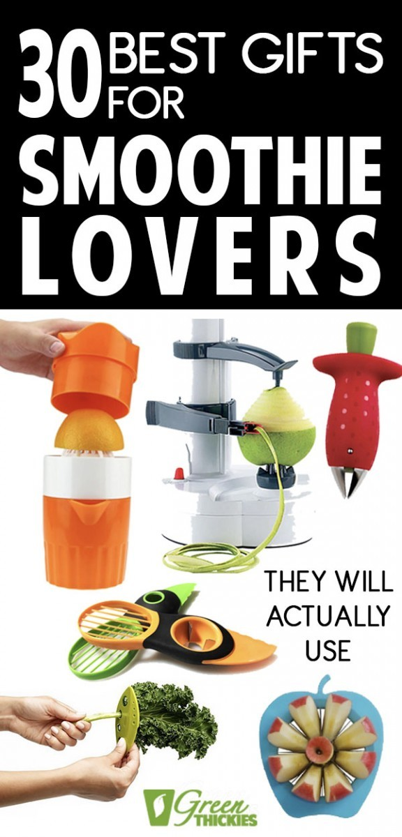 Here are the best smoothie gifts that smoothie lovers will actually use.  I know these items will get used because I am a self-confessed smoothie addict and I use these every day myself.These gifts for smoothie lovers are perfect for Christmas, birthdays, for friends, your Mom, sister, daughter, grandparents, wife or girlfriend.Healthy people, healthy eaters, health conscious, healthy mom, Health nuts, health freaks, and health lovers will also adore these gifts.#greenthickies
