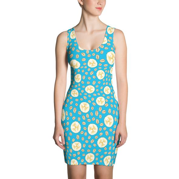 17 Fruit Fashion Items That Makes A Statement; Banana Oatmeal Women's All Over Fruit Print Pattern Sublimation Cut & Sew Dress