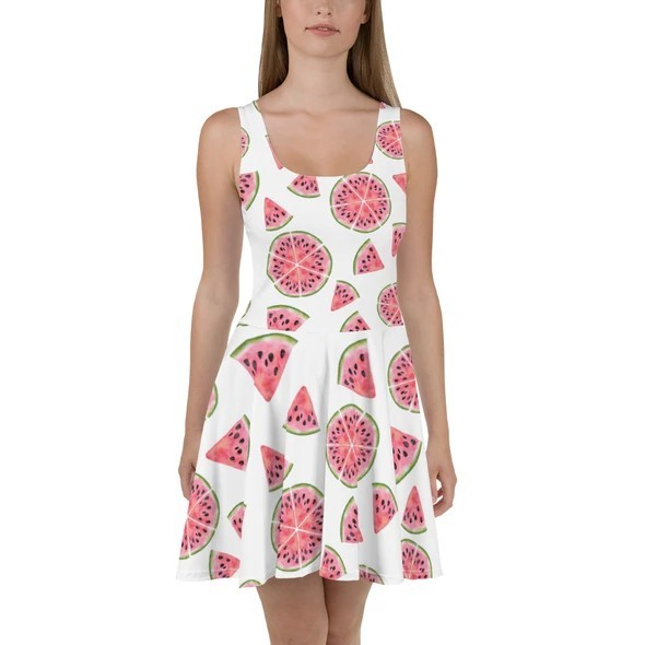 17 Fruit Fashion Items That Makes A Statement; Watermelon Fruit Print Pattern White Skater Dress