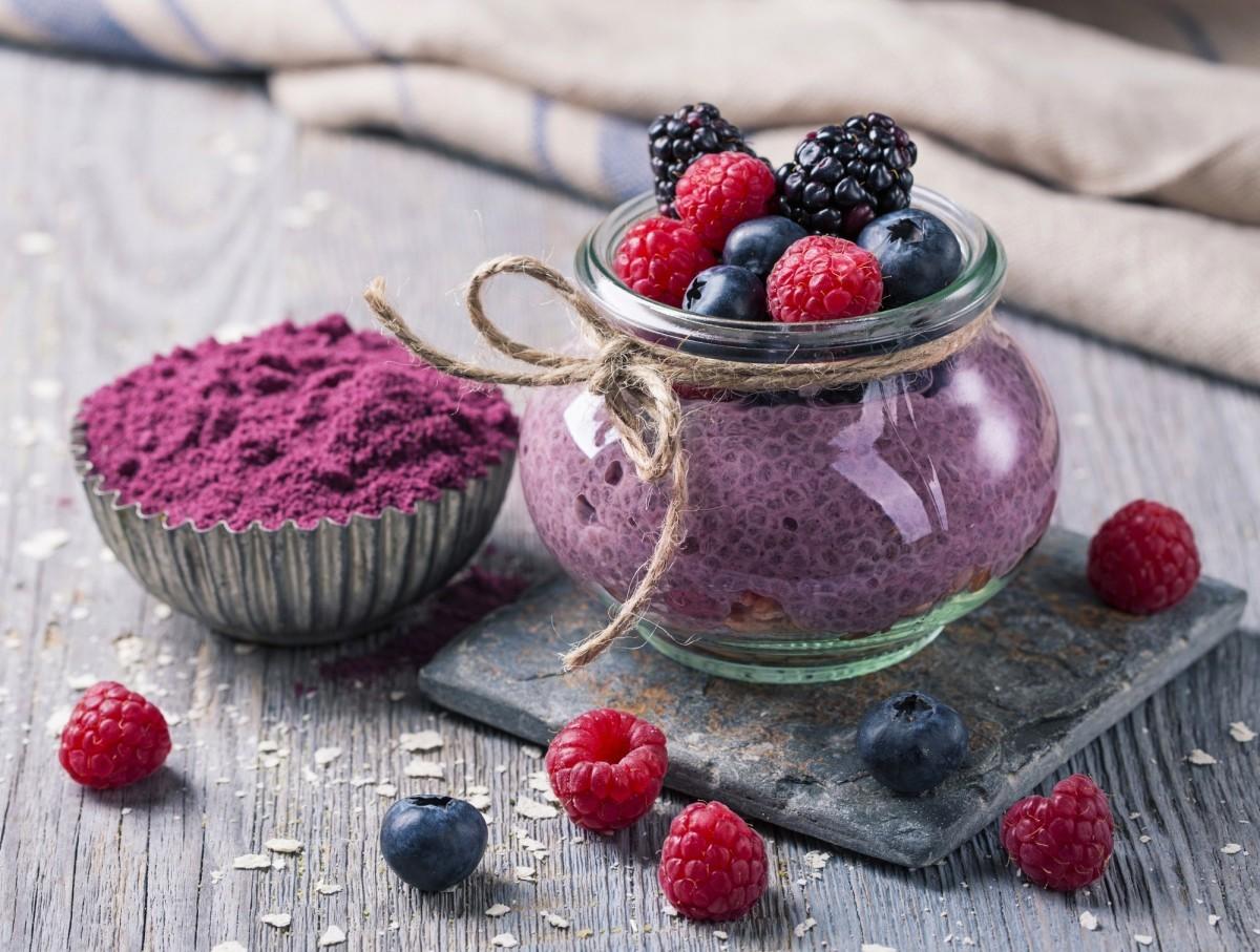 200+ Smoothie Ingredients Shopping List Printable; Chia seeds acai pudding