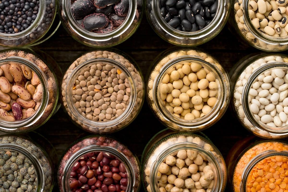 200+ Smoothie Ingredients Shopping List Printable; various dried legumes in jars