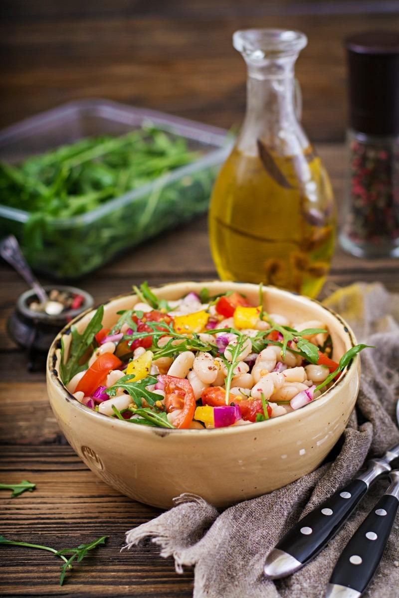 White bean cannellini salad. Vegan salad. Diet menu